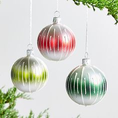 Small Striped Ball Ornaments at Crate and Barrel Canada. Discover unique furniture and decor from across the globe to create a look you love. Ball Ornaments, Christmas Tree Ornaments, Christmas Decorations, Holiday Decor, Christmas Clearance, Christmas Sale, Christmas Holidays, White Glitter, How To Make Ornaments