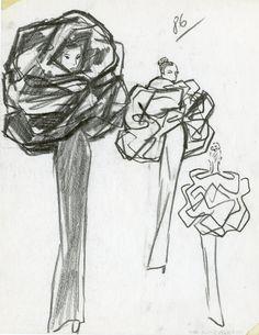 Balenciaga. Illustration de collection, hiver 1967, ensemble robe et capuche en gazar noir