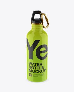500ml Glossy Sport Bottle With Carabiner Mockup - High-Angle Shot (Preview)