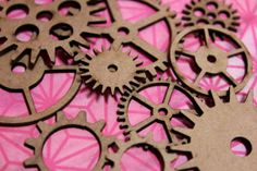 Set of 10 individual Steampunk Gears-Clock Parts laser cut chipboard die cuts