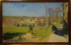 """Dick Lee, British 1933-2001- """"Carneville, late Afternoon"""", 1971; oil on canvas, in a brass mounte"""