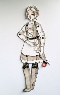 Paper Puppet kit - fairy tale articulated paper doll to design and create - Katie Woodencloak.