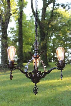 Antique Chandelier 3-Light Romance Revival Fixture--This fixture is sold but contact us at www.lightladystudio.com if you'd like us to source one close to the original.