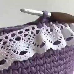 Crochet Diy, Love Crochet, Crochet Crafts, Crochet Flowers, Crochet Projects, Sewing Projects, Crochet Storage, Crochet Borders, Crochet Stitches