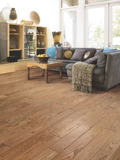 A medium gloss and sherwood finish accentuate the overall beauty of Floorcraft's Bullet Range Provincial hardwood.
