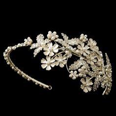 Lt Gold Champagne Rhinestone & Ivory Pearl Floral Side Headband