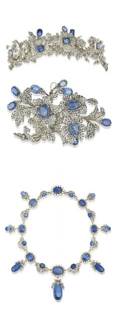 The Barberini Jewels, Italian c1850. IMPORTANT 19TH CENTURY SAPPHIRE AND DIAMOND NECKLACE, TIARA AND CORSAGE. Comprising a fringe necklace of graduated sapphire and old-cut diamond clusters joined by diamond floral and foliate connections, suspending a series of sapphire and old-cut diamond drops, circa 1830, clasp circa 1860, with a tiara designed as a spray of old-cut diamond dog roses, with cushion shaped sapphire centres and buds, and a corsage ornament of similar design, mounted in…