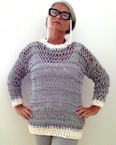 """Free knitting pattern for Openwork Sweater in T-Shirt Yarn - Love this pullover by Donatella Mestriner! The strips are cut at 3/4"""" width so won't be too bulky, and there will be enough to knit the whole garment."""