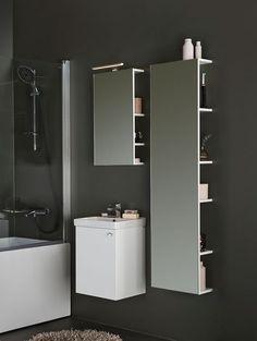 Ikea Utility Room, Bathroom Storage, Bathroom Medicine Cabinet, Open Shelving, Shelves, Barndominium, Dream Bathrooms, Minimalism, Vanity