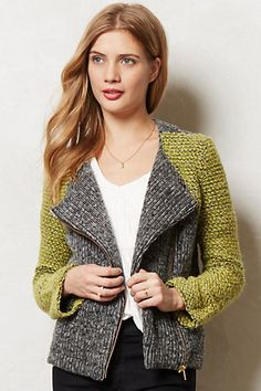 Not my fave but I suspect it will look better on me than I expect. Moto Sweater Jacket #anthropologie
