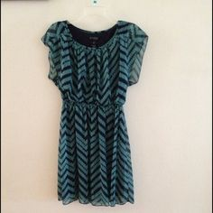 Chevron dress Mint/green and navy blue chevron dress short sleeves and knee length. Pullover style is new with out tag. No Trades. No Holds. No PayPal. Dresses