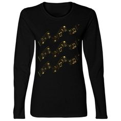 #GoldenMusicNotes #Swirl #BlackLongSleeveTshirt by #MoonDreamsMusic