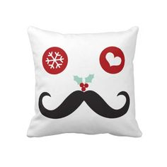 Silly Fun Cute Mustache Smiley Holiday Custom Throw Pillow