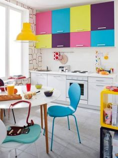 Amazing use of color! This would be fab as a quick update of a tired kitchen.