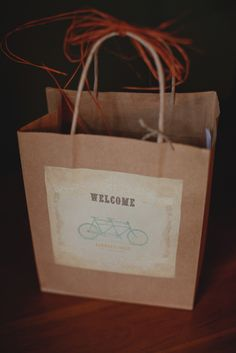 tandem bike welcome bag Wedding Gift Bags, Wedding Welcome Bags, Fall Wedding, Our Wedding, Mackinac Island Michigan, Welcome Gifts, Tandem, Here Comes The Bride, Wedding Inspiration