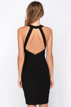 Around We Go Black Cutout Halter Dressat Lulus.com!