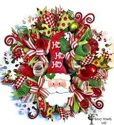 SANTA Claus Deco Mesh Wreath, Whimsical Santa CHRISTMAS WREATH, Xmas Front Door Wreath,Christmas Decoration, Winter Wreath, Ready to Ship by FancyWreathLady on Etsy #Santa #Christmas #Wreath