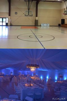 Gymnasium transformation! Blue uplighting with white decor.