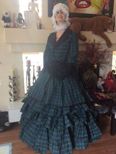 2pcJ/silk taffeta vintage plaid skirt 1700,1800 Paris couture/ Universal Studios #Handmade #Skirt