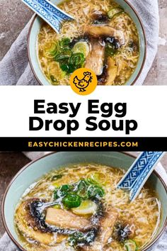 This Easy Egg Drop Soup recipe takes about 15 minutes from pantry to table for a quick & easy dinner. Made with eggs, chicken broth, cornstarch, and green onions, and the egg ribbons look so lovely too – deliciousness! #souprecipe #easydinner #eggdropsoup #weeknightmeal Asian Chicken Recipes, Asian Recipes, Egg Drop Soup, Boiled Chicken, Quick Easy Dinner, Green Onions, Egg Recipes, Weeknight Meals, Tasty Dishes