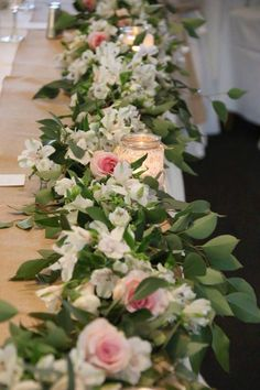 Bridal table flower runner