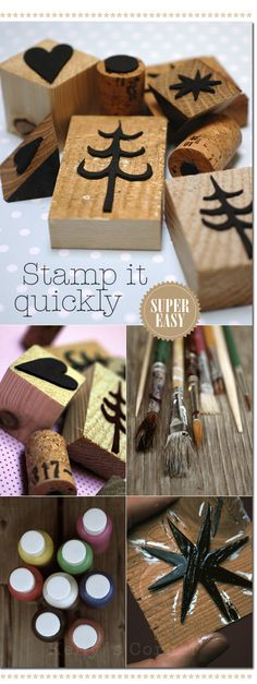 ★ Les Tissus Colbert: Advent- stamps onto plain paper for wrapping gifts.  Print out the templates and trace onto foam rubber, glue to wood scraps or anything you want to use, and stamp!  EASY.