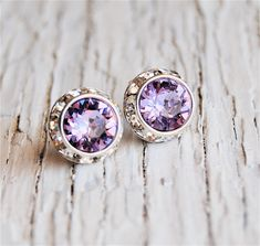 Lilac Lavender Stud Earrings Rhinestone Earrings Sugar Sparklers Small Swarovski Crystal Purple Diamond Rhinestone Stud Earrings Mashugana