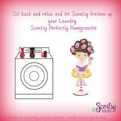 I cannot do a load of laundry without my Perfectly Pomegranate Scentsy Laundry products!   Detergent, washer whiffs and dryer disks oh my!