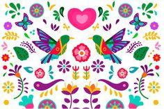 Diseño plano colorido fondo mexicano vec... | Premium Vector #Freepik #vector #fondo #floral #flores #diseno Folk Art Flowers, Hand Drawn Flowers, Flower Art, Floral Flowers, Vintage Typography, Vintage Logos, Retro Logos, Mexican Colors, Design Plano