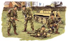 Airborne in Operation Varsity 1945 Military Weapons, Military Art, Military History, Army Drawing, Paratrooper, D Day, Us Army, World War Two, Wwii