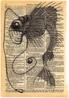 ink creature on antique encyclopedia page by ben lawson