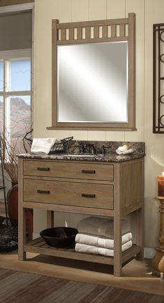 The Toby collection vanity base and mirror from Sagehill Designs.  See more at www.sagehilldesigns.com.