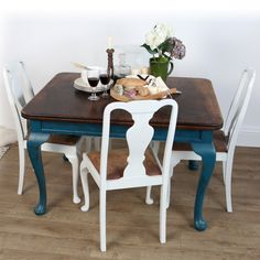 Love The Table Chairs Esp Stained Top Colored Legs Also To Match Helen Ford Upcycled Dining