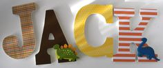 Custom Decorated Wooden Letters DINOSAUR Theme- Nursery Bedroom Home Décor, Wall Decorations, Wood Letters, Personalized. $20.00, via Etsy.