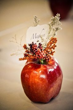 LOVE! Unique and beautiful #placecards made out of apples {Elevate Photography}
