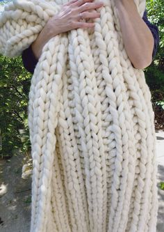 Super Chunky Blanket, 42x60, Pure Merino Wool, Natural, Hand Knit, Extreme Knitting