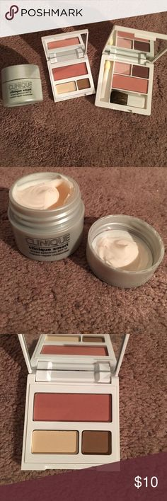 Clinique Moisturizer SPF 15 + 2 Makeup Palette Clinique Smart Broad Spectrum SPF 15 + 2 Makeup Palettes with neutral eye shadows and blushes (brushes included). Colors include pink, brown, and neutral. Moisturizer size 15ml or .5 oz. All not used, brand new. Clinique Makeup Eyeshadow