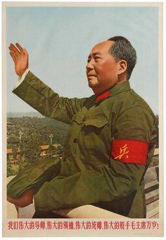 Original vintage Chinese Propaganda poster: Long live the great leader Chairman Mao! Colour photograph of Chairman Ma. Chinese Propaganda Posters, Propaganda Art, Political Posters, Soviet Art, Soviet Union, Celebridades Fashion, Communist Propaganda, New China, Greatest Presidents