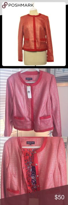 Jones New York Tweed Collarless Blazer Jacket Coral Sea JNY blazer jacket. 5 Snap buttons that are hidden when snapped closed. Beautiful paisley polyester lining. Hand wash in cold. Jones New York Jackets & Coats