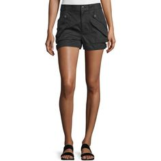 Helmut Lang Cotton-Blend Buckled Mid-Rise Shorts ($340) ❤ liked on Polyvore featuring shorts, black, helmut lang shorts, helmut lang, pocket shorts, buckle shorts and mid rise shorts