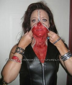 bloody zipper face makeup and costume - Bloody Halloween Masks