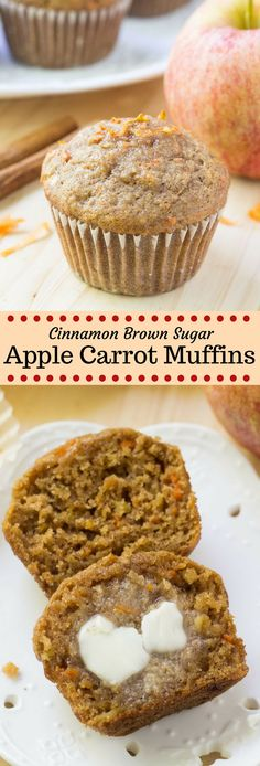 These apple carrot muffins are soft moist and filled with fall flavors. Made with fresh apples grated carrots and lots of cinnamon theyre the perfect breakfast or snack. - Muffins - Ideas of Muffins Healthy Carrot Muffins, Muffins Blueberry, Apple Cinnamon Muffins, Oatmeal Carrot Muffins, Easy Apple Muffins, Spinach Muffins, Almond Muffins, Carrot Cake Muffins, Pumpkin Spice Muffins