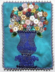 Beaded Embroidery blue vase, button flowers
