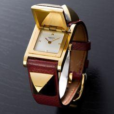 Hermès red Medor vintage watch