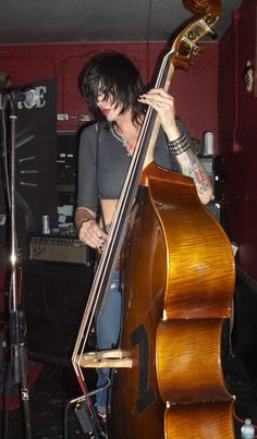 Corey Parks with Wood Bass and Fender Bass Amp Fender Bass Amp, Bass Guitars, Female Rock Stars, Brody Dalle, The Distillers, Stand And Deliver, Bass Amps, Flesh And Blood, Metalhead