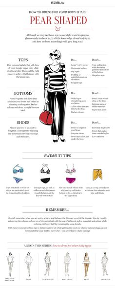 Pear shape - How to dress for your body shape Narrow waist, Smaller bust, Shapely bottom half                                                                                                                                                                                 More