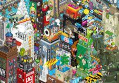 Eboy ville pixel art New york Les villes pixelisés deBoy