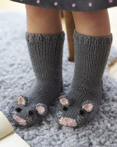 Free Knitting Pattern for Mouse Socks - These adorable mice socks are excerpted from Fiona Goble's Knitted Animal Scarves, Mitts, and Socks.