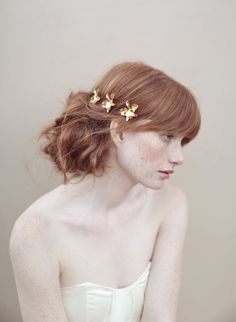 Bridal hairpin, gold orchids, bobby pins, flowers - Gold plated petite orchid bobby pin set of 3 - Style 360