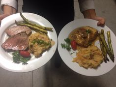 Choice Entree of: Steak, mashed potato, and asparagus (left) or chicken, mashed potato, and asparagus (right)